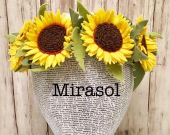 Mirasol Felt Crown l Sunflower Headband l Sunflower Wreath l Photo Prop l Autumn Costume l Large Flower Crown l Hippie Headband l Headdress
