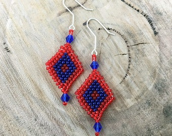 Red and blue diamond-shaped dangle earrings, bead woven with blue crystals and 925 sterling silver hooks