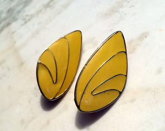 Vintage 1980's Yellow Enameled & Gold-Tone Clip-On Earrings