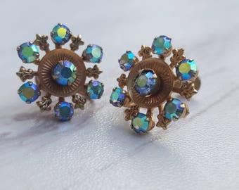 Vintage Blue Aurora Borealis Rhinestone Screw Back Earrings