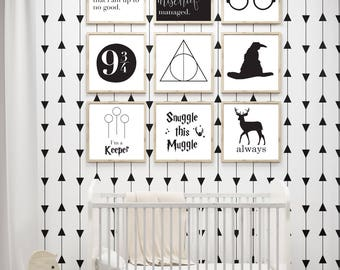 Harry Potter Nursery Art - Harry Potter Baby Shower Gift- Harry Potter Art - Harry Potter Decor- Harry Potter Gallery Wall Collection