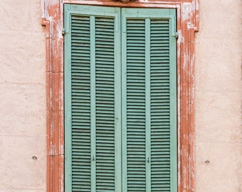 Green Shutter on a Pink Wall in Provence, France