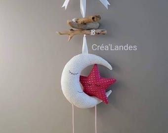 Mobile Driftwood Moon Star nursery decor kids baby birth gift