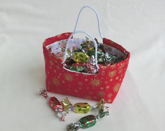 Basket / hamper / basket for chocolates candies / festive Christmas table Decoration Center / cotton fabric red and gold / gift woman man