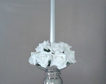 Silver Candle Holder with White Roses and Gray Candle