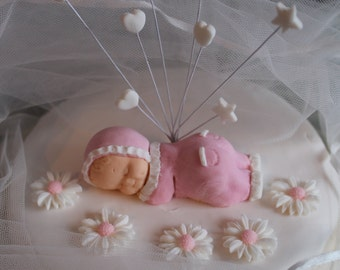 Christening Daisy Baby edible cake topper - perfectly cute and adorable