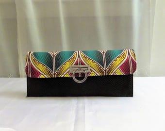 Clutch bag in leather and wax (Ankara)