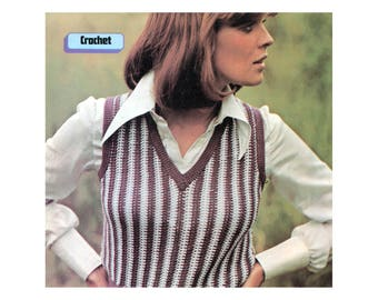 V-neck Striped Vest - Crochet Pattern - Womans Pullover