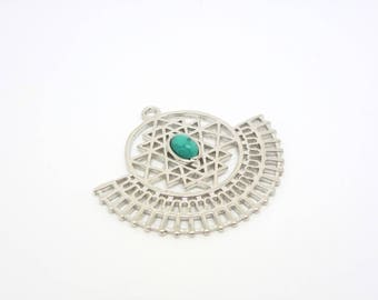 1 zen meditation pendant shaped fan with turquoise cabochon synthetic 35 * 31mm (8SBA48)