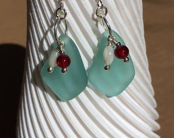 Sea Foam blue Sea glass, Red Sea glass & Mother of Pearl earrings