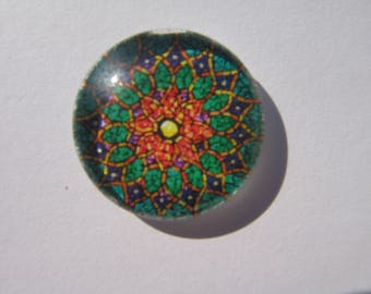 Glass cabochon round 20 mm with multicolored image