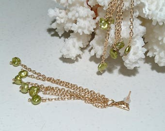 """""""Jade River"""" earrings. Keshis, lime green pearls and gold plated findings."""