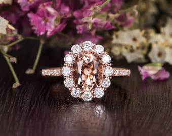 Morganite Engagement Ring Rose Gold Oval Cut Morganite Antique Moissanite Halo Flower Diamond Anniversary Promise Gift Women Bridal Wedding
