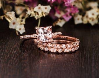 Unique Princess Cut Morganite Engagment Ring Rose Gold Art Deco Wedding Band Women Bridal Set Morganite Ring Diamond Antique Anniversary 2pc