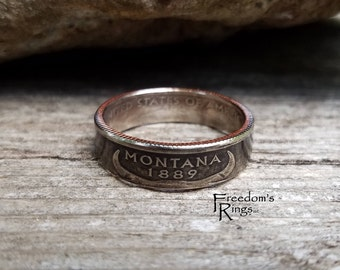 "2007 Montana ""Statehood"" Quarter Coin Ring"