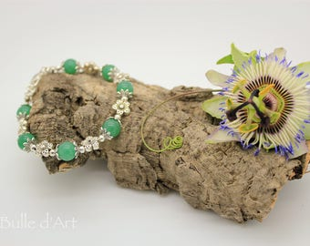 Aventurine and flowers bracelet