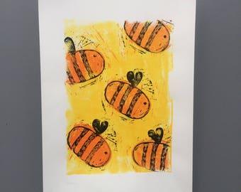 Bumble Bees Acrylic Linocut Print