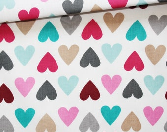 Hearts, 100% cotton fabric printed 50 x 160 cm hearts on white background