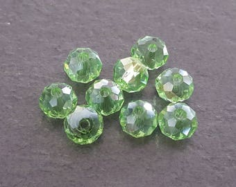 30 6 x 5 mm pearls, ab green color faceted Crystal beads faceted abacus beads