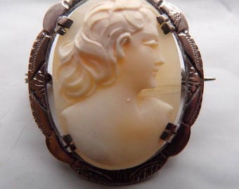 """Fine Silver Large Hand-Carved Shell Cameo Brooch 1-1/4"""" x 1"""" Handmade .800 Silver"""