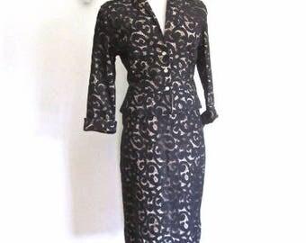 L 50s Lilli Diamond Black Lace Suit Evening Wear Jacket Skirt Illusion Satin Lining Peplum Pencil Large