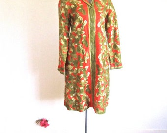 S M 60s 70s Clover Dress Orange Green Shift Tent Long Sleeves by VERA Shirt Small Medium