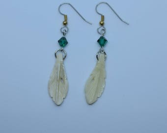 Feather pendants earrings, real bones