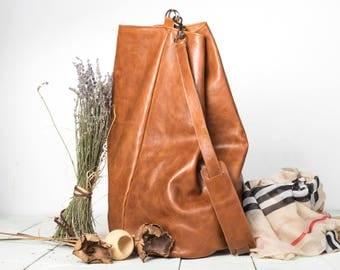 Leather Duffle Bag, Cognac Leather Duffle Bag
