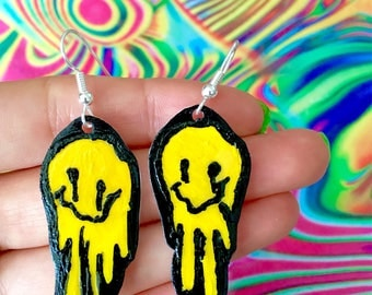 Smiley Face Earrings - Girls Festival Rave Wear - Shrink Plastic Jewelry - Trippy Accessories - Psychedelic Acid Clothing