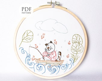 Hand embroidery Pattern, Fishing Cat, PDF Instant Download, Embroidery Hoop Art Pattern