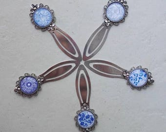 Blue patterns - glass cabochon silver plated bookmark