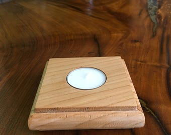 Wooden Cherry Tealight Holder Square, Birthday, Housewarming, Valentines, Mothers Day, Gift, Present, Rustic Homeware