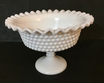 Hobnail Milk Glass Compote, Vintage Fenton Hobnail Milk Glass Bowl with Crimped Edges
