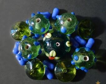 18 Indian, green, blue lampwork glass beads
