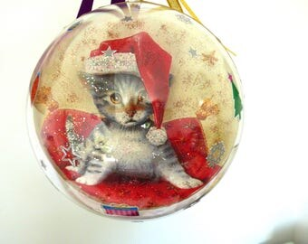 transparent ball of Christmas 14, 5cm, cats and bears