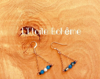 Rose gold, agate and hematite earrings