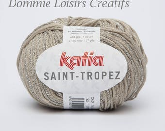 Wool Katia SAINT TROPEZ - color Beige silver 93 - needles 4/4.5