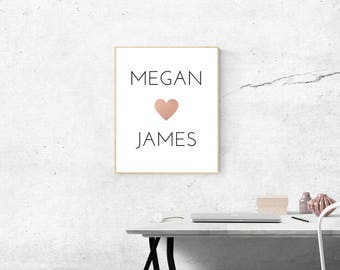 Customised Rose Gold Heart LOVE Printable