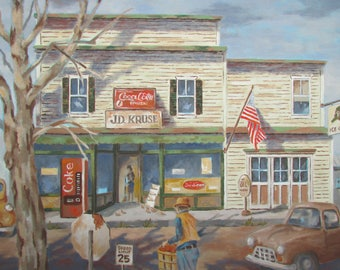 Oil Painting Autumn At The Corner Country Store