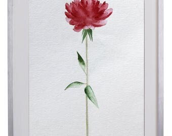 Single Red Flower Original Watercolor Painting