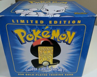Limited Edition 23k Gold-Plated Pokemon Trading Card- Mewtwo
