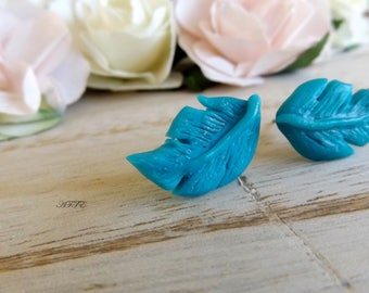 Stud Earrings turquoise feather