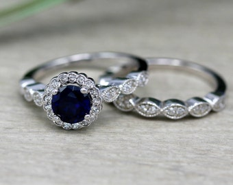 Art Deco 10Ct Lab Made Sapphire Sterling Silver Engagement Ring And Band Set