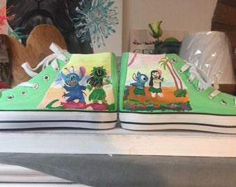 Hand-painted high sneaker LILO & stitch size 39