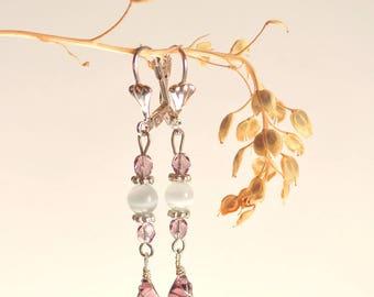 Rouanez * purple/White Pearl Earrings