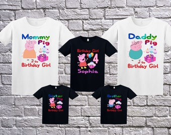 Peppa Pig Birthday Shirt, Peppa Pig Shirt for Girls, Personalized Peppa Pig Apparel, Custom Peppa Pig Birthday Shirt , Peppa Pig Theme Party