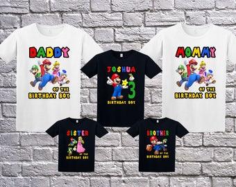 Super Mario Birthday Shirt, Custom Super Mario T-Shirt, Personalized Super Mario Apparel, Mario Name Age, Super Mario Birthday Theme Party