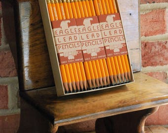 """FREE SHIPPING!! - Vintage Box of Eagle Pencils - """"New-Old Stock"""" - Unused - Full Box - Factory Sharpened - 6 packs of 12 - 72 Unused Pencils"""