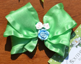 Mint Green Hair Bow. Double Ruffle Satin Triple Loop Boutique Hair Bow for Toddlers to Teens. Pretty Sculpted Roses in Center.