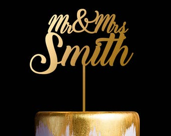 Personalized Wedding Cake Topper, Customized Last Name Cake Topper, Mr and Mrs Cake Topper, Last Name Cake Topper
